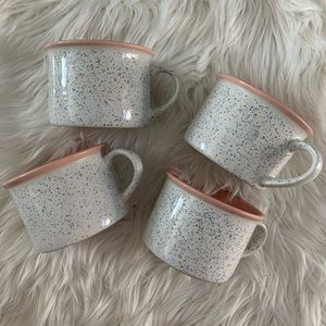 Set of 4 Cute speckled Pink Mugs